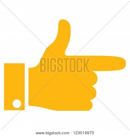 Hand Pointer Right vector symbol. Image style is flat hand pointer right icon symbol drawn with yellow color on a white background.