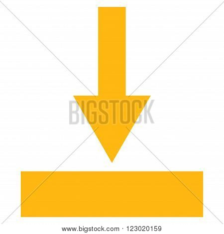 Move Bottom vector icon symbol. Image style is flat move bottom pictogram symbol drawn with yellow color on a white background.