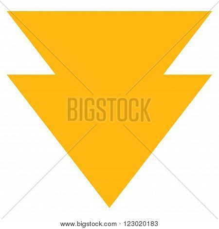 Move Down vector icon. Image style is flat move down icon symbol drawn with yellow color on a white background.