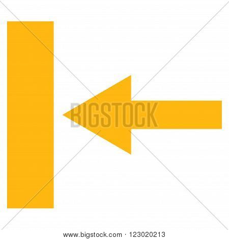 Move Left vector pictogram. Image style is flat move left pictogram symbol drawn with yellow color on a white background.