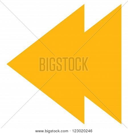 Move Left vector symbol. Image style is flat move left pictogram symbol drawn with yellow color on a white background.