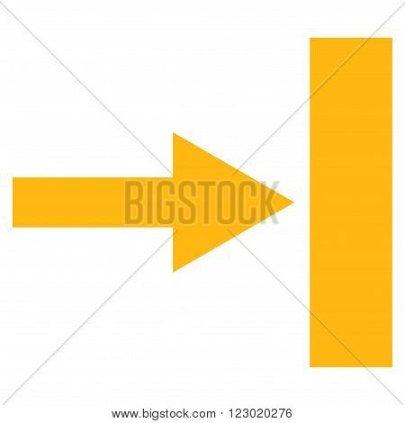 Move Right vector symbol. Image style is flat move right iconic symbol drawn with yellow color on a white background.