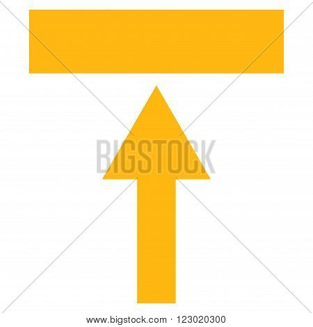 Move Top vector icon symbol. Image style is flat move top iconic symbol drawn with yellow color on a white background.