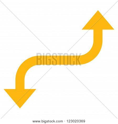 Opposite Curved Arrow vector pictogram. Image style is flat opposite curved arrow icon symbol drawn with yellow color on a white background.