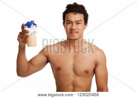 Muscular Asian man with whey protein  isolated on white background
