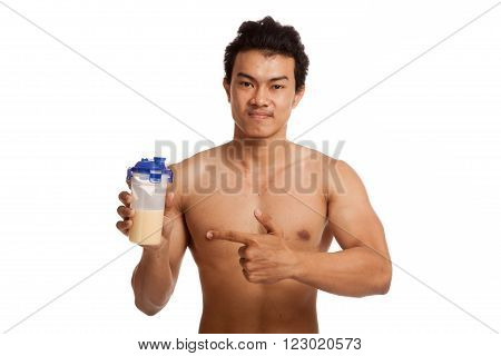 Muscular Asian man point to whey protein  isolated on white background