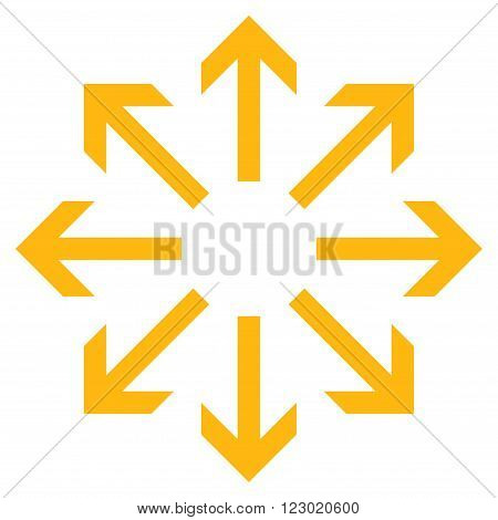 Radial Arrows vector icon. Image style is flat radial arrows pictogram symbol drawn with yellow color on a white background.