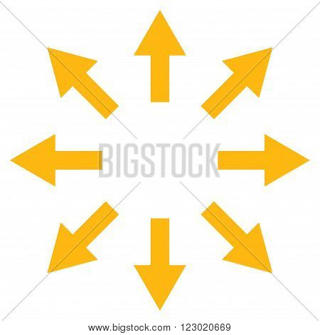 Radial Arrows vector icon. Image style is flat radial arrows icon symbol drawn with yellow color on a white background.