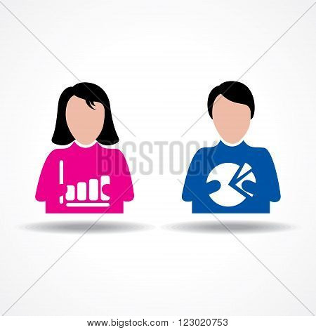 Male and Female thinking about their business growth stock vector