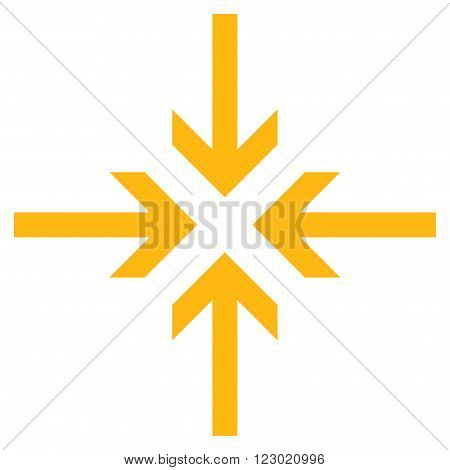 Reduce Arrows vector pictogram. Image style is flat reduce arrows icon symbol drawn with yellow color on a white background.