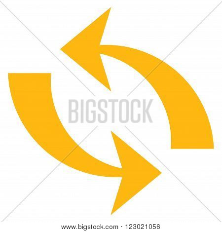 Refresh vector pictogram. Image style is flat refresh iconic symbol drawn with yellow color on a white background.