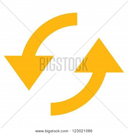 Refresh vector icon. Image style is flat refresh iconic symbol drawn with yellow color on a white background.
