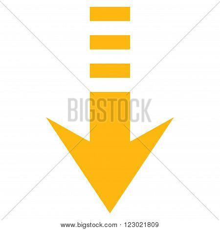 Send Down vector symbol. Image style is flat send down pictogram symbol drawn with yellow color on a white background.