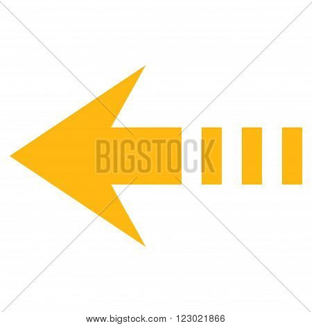 Send Left vector icon symbol. Image style is flat send left icon symbol drawn with yellow color on a white background.