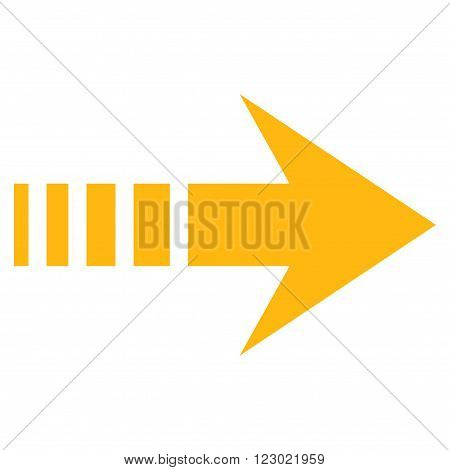 Send Right vector symbol. Image style is flat send right iconic symbol drawn with yellow color on a white background.