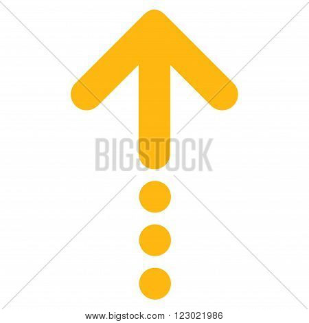 Send Up vector symbol. Image style is flat send up icon symbol drawn with yellow color on a white background.