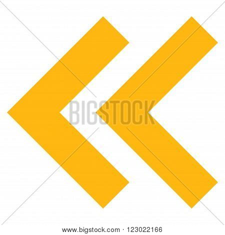 Shift Left vector pictogram. Image style is flat shift left icon symbol drawn with yellow color on a white background.