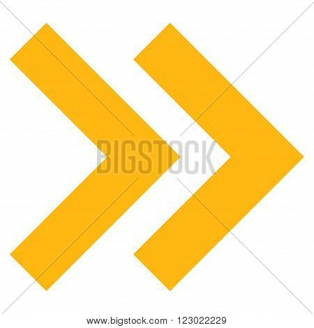 Shift Right vector icon symbol. Image style is flat shift right iconic symbol drawn with yellow color on a white background.