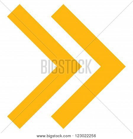 Shift Right vector icon symbol. Image style is flat shift right icon symbol drawn with yellow color on a white background.