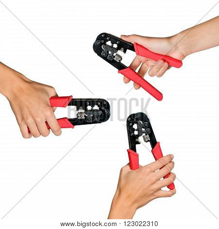 Set of human hands holding working tool isolated on white background, top view