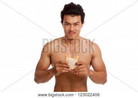 Muscular Asian Man Load Carbs Eat Some Bread