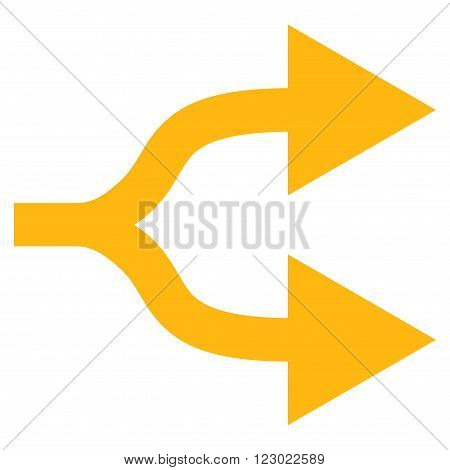 Split Arrows Right vector icon. Image style is flat split arrows right pictogram symbol drawn with yellow color on a white background.