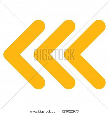 Triple Arrowhead Left vector icon symbol. Image style is flat triple arrowhead left iconic symbol drawn with yellow color on a white background.