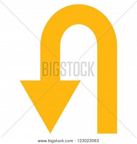 Turn Back vector pictogram. Image style is flat turn back pictogram symbol drawn with yellow color on a white background.