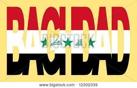 überlappender Bagdad Text mit irakischen Flagge Abbildung JPG