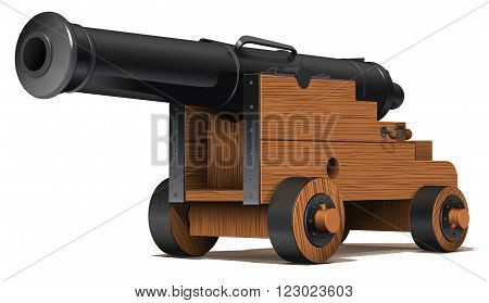 the old ship cannon with wooden carriage and black metal barrel