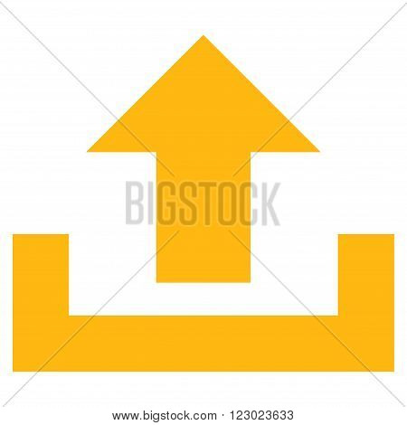 Upload vector symbol. Image style is flat upload icon symbol drawn with yellow color on a white background.