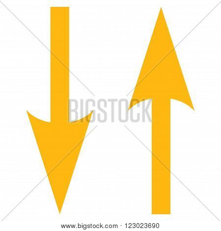 Vertical Exchange Arrows vector icon symbol. Image style is flat vertical exchange arrows iconic symbol drawn with yellow color on a white background.
