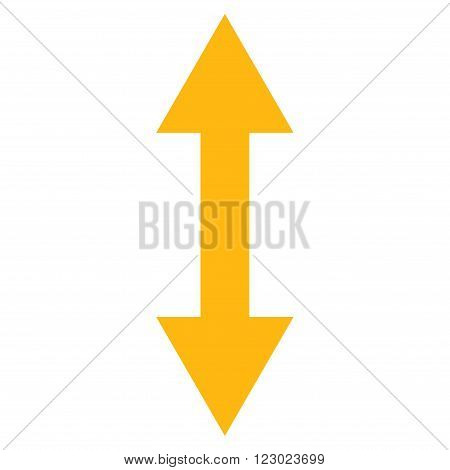 Vertical Flip vector icon. Image style is flat vertical flip iconic symbol drawn with yellow color on a white background.