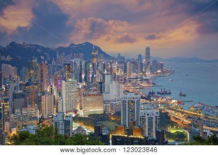 Hong Kong. Image of Hong Kong skyline during dramatic sunset.