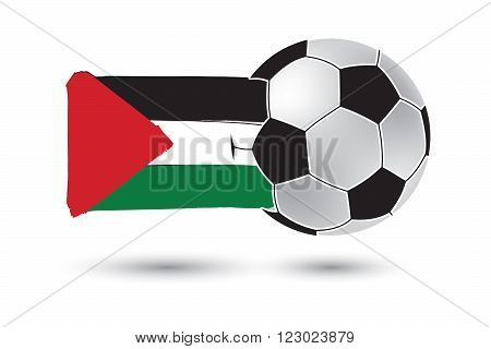 Soccer Ball And Palestine Flag With Colored Hand Drawn Lines