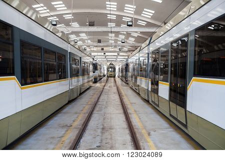 Color image of some trams in a tram depot.