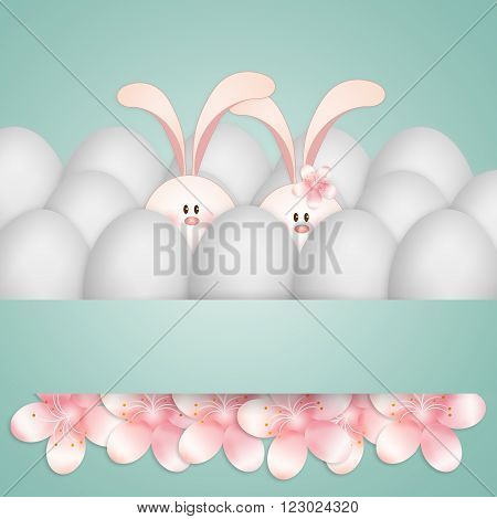illustration of a couple of rabbits with eggs