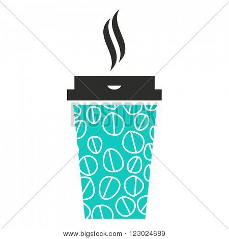 Modern coffee disposable paper cup sign with steam. Vector illustration.