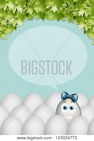 illustration of funny egg with blue ribbon