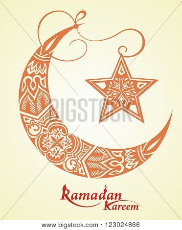 Ramadan Kareem beautiful greeting card.Ramadan Kareem  moon