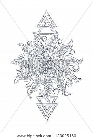 Hand drawn line art vector alchemy symbols, planet icon Magic, astrology, alchemy, chemistry, mystery, occultism design template for print, t-shirt, logo, tattoo