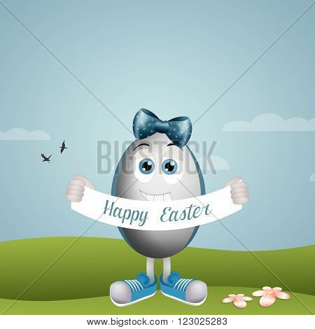 illustration of Funny Easter eggs with ribbon