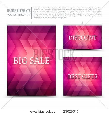 Vector design elements: flayer, card, banner.  Big sale, discount, best gits. Vector design template. Vector typography design. Vector design mock-up. Vector geometric background. Business vector