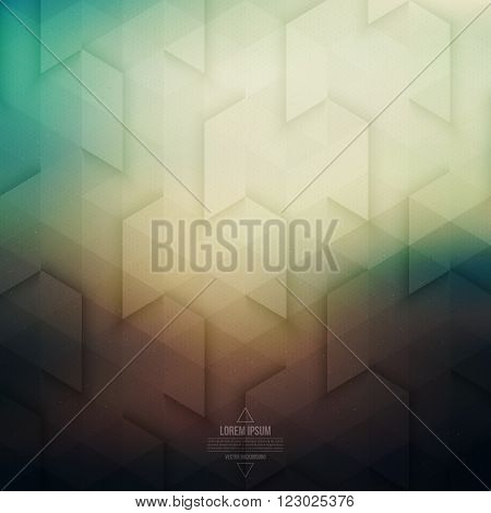 Vector technology geometric background. Vector background in retro colors. Vector pattern. Vector geometric structure. Triangular vector background. Retro vector background. Hipster background