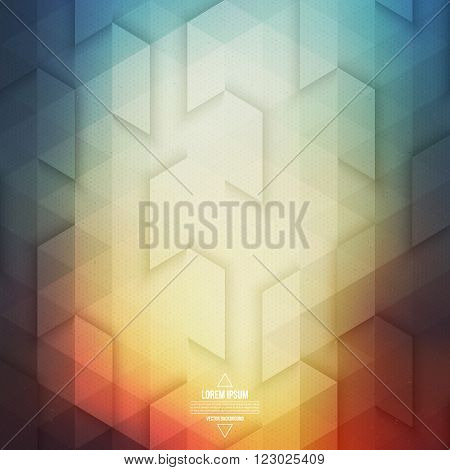 Vector technology abstract geometric background. Vector bright colorful background. Vector pattern. Vector geometric structure. Triangular vector background. Retro background. Hipster background