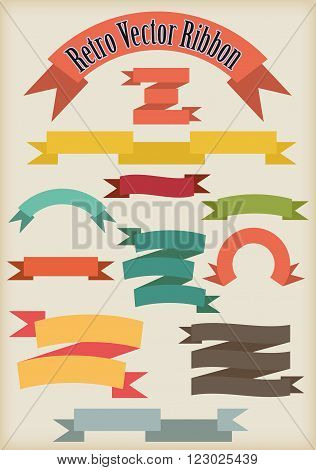 Set of simple dual color no gradient ribbons in retro style on beige background