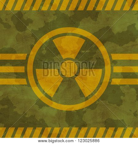 Khaki texture with a radiation warning symbol