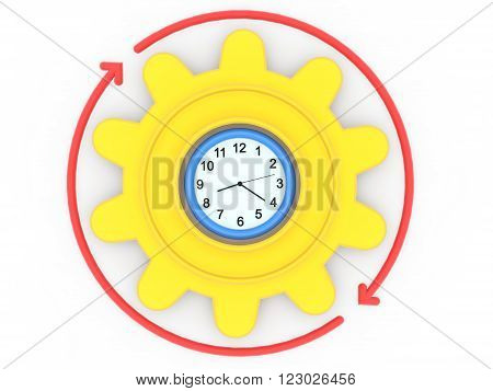 3d rendering of clock gear and arrows. Working round the clock concept