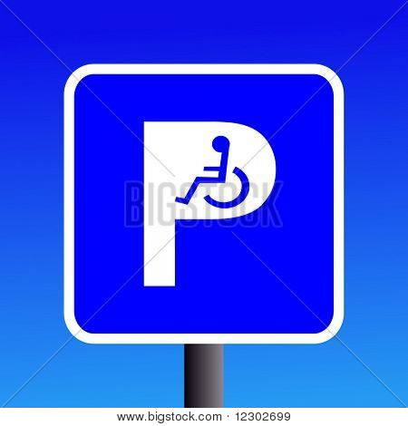 Disabled parking sign with wheel chair symbol