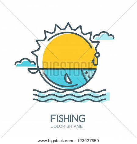 Vector Linear Colorful Illustration Of Sun, Fish In The Sea, Fishing Rod And Hook.